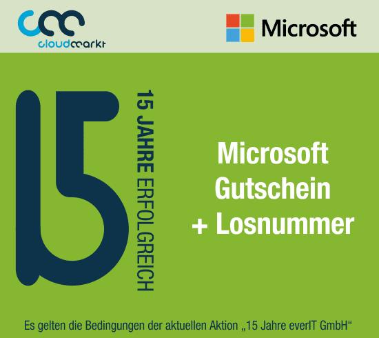 15 Jahre Aktion Microsoft Gutschein 3 Euro + Losnummer